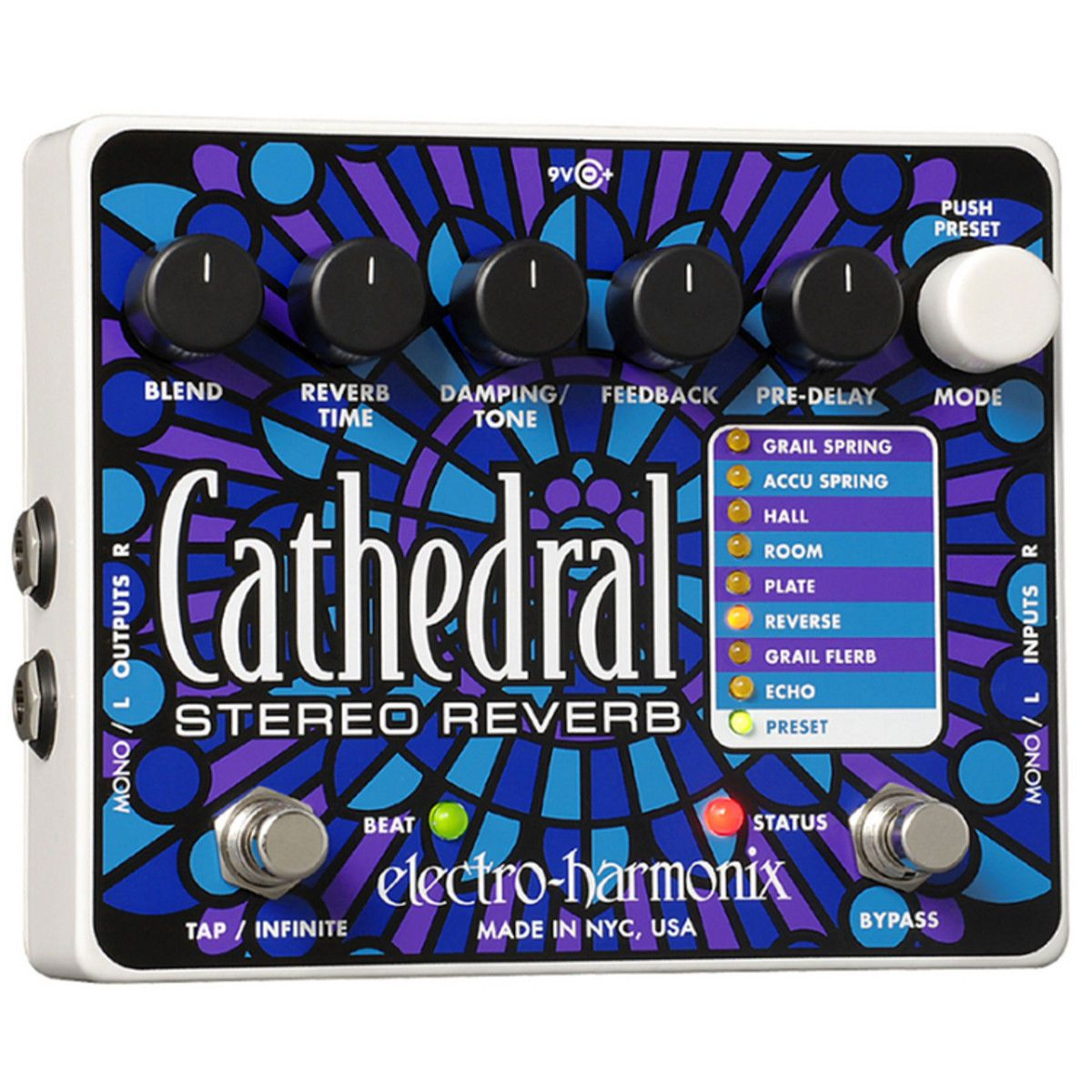 Electro Harmonix Cathedral Stereo Reverb - Guitar Effect Pedal - New Boxed