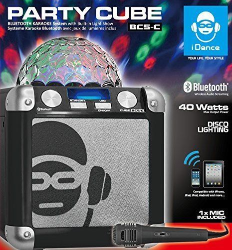 idance BC5 Bluetooth Party Cube, Black 40 Watts, inc Mic & disco ball - BC5