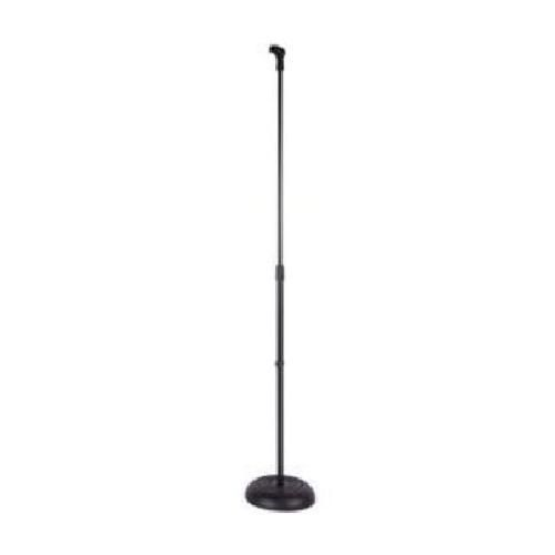 Kinsman MS66 Round Cast Base Mic Stand including Microphone Clip - Black - New