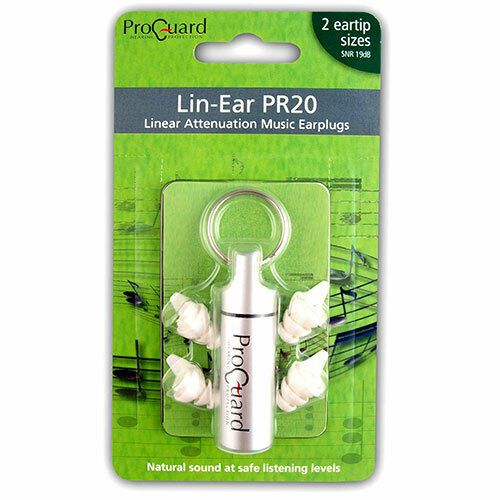 ProGuard Lin-Ear PR20 Music Earplugs - 19dB linear attenuation filter. - PR20
