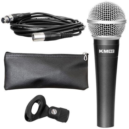 Studiomaster KM92 Dynamic Vocal Microphone + Cable, Case & Clip  - New
